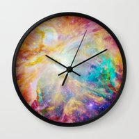 nebula Wall Clocks featuring nEBula : Colorful Orion Nebula by 2sweet4words Designs