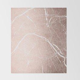 Paris France Minimal Street Map - Rose Gold Glitter on White Throw Blanket