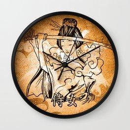 Samurai Woman Art Wall Clock