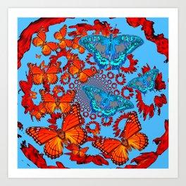 Blue & Orange Butterflies Abstract Pattern Art Art Print