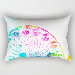 ferris wheel in the city with colorful painting abstract in blue pink yellow green Rectangular Pillow
