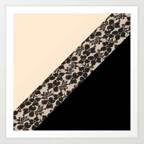 Elegant Peach Ivory Black Floral Lace Color Block Art Print