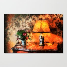 Flowers, vase and lamp in a French country cottage Canvas Print
