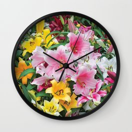 SPRING LILIES FLOWER GARDEN MEDLY Wall Clock