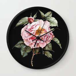 Wilting Pink Rose Watercolor on Charcoal Black Wall Clock