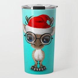 Christmas Reindeer Wearing a Santa Hat Travel Mug