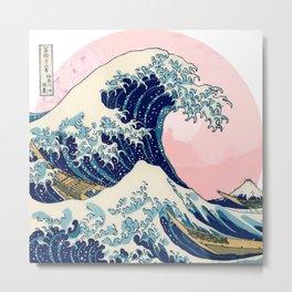 The Great Wave off Kanagawa by Hokusai in pink Metal Print