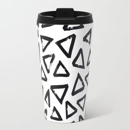 Black Brushstroke Triangel Pattern, Scandinavian Design Travel Mug