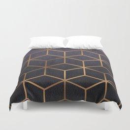 Dark Purple and Gold - Geometric Textured Gradient Cube Design Duvet Cover