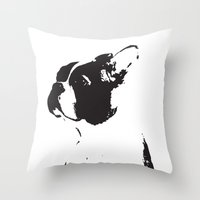 boston terrier Throw Pillows featuring Boston terrier by OHOO SIX