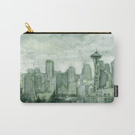 Seattle Skyline Watercolor Space Needle Emerald City 12th Man Art Carry-All Pouch