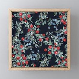 Festive Christmas Berries Pattern Framed Mini Art Print