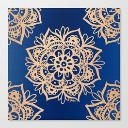 Blue and Gold Mandala Canvas Print