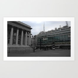 Paris architecture black and white with color Art Print
