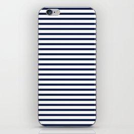 Navy Blue Nautical Stripes Minimal iPhone Skin