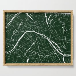 Paris France Minimal Street Map - Forest Green Serving Tray