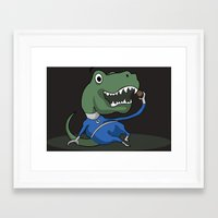 trex Framed Art Prints featuring Fantastic Mr. TRex [dark] by Megan Yiu