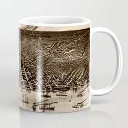 Detroit Michigan Bird's Eye Map Coffee Mug