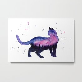 Galaxy Forest Cat Metal Print