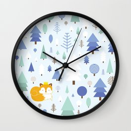 The fox in the winter forest Wall Clock