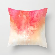 Watercolor red Coral decor Modern illustration abstract Peachy print Pink art Throw Pillow