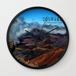Haleakala Hawaii and Courage  Wall Clock