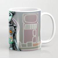 tank girl Mugs featuring Fish Tank Robot Girl by Ronkytonk by RonkyTonk