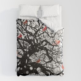 Red Birds in Snow by GEN Z Comforters