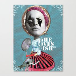 she loves the fishes Canvas Print