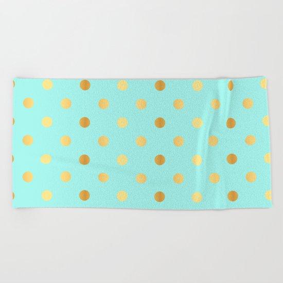 Gold foil glitter polkadots on aqua Beach Towel