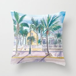 Key West Conch Dream House-Houses Palms And Keys Street Throw Pillow