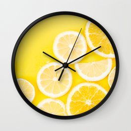 Yellow Watercolor Lemon & Orange Wall Clock