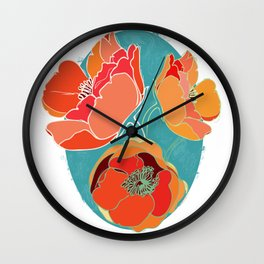 Turquoise California Poppies Wall Clock