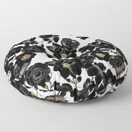 Modern Elegant Black White and Gold Floral Pattern Floor Pillow