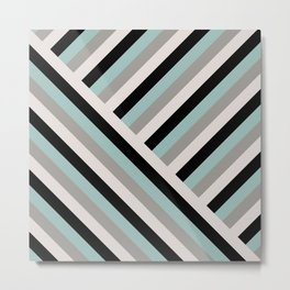 Pastel stripes diagonal Metal Print