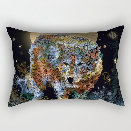 floral animals wolf and stars Rectangular Pillow