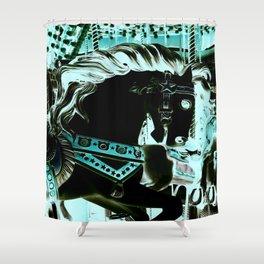 Carousel Horse Turquoise Aqua Shower Curtain