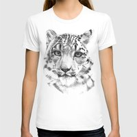 snow leopard T-shirts featuring Snow leopard by RekaFodor