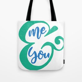 Me&You Script - Blue and Green Tote Bag