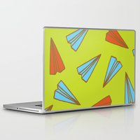 planes Laptop & iPad Skins featuring Paper Planes by evannave