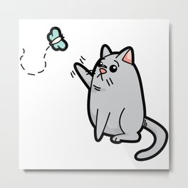Fat Cat Trying to Get Butterfly Metal Print
