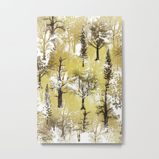 Winter Trees Pattern Metal Print