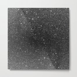 Modern chic elegant trendy faux black glitter Metal Print