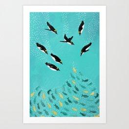 Penguins Playing Art Print