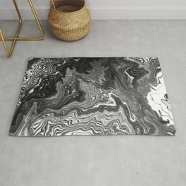 Izumi - spilled ink marble landscape abstract painting handmade art print texture black and white Rug