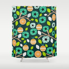 Oranges and flowers Shower Curtain