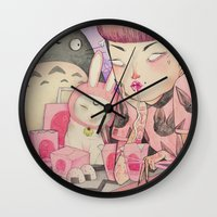 loll3 Wall Clocks featuring Noodle Eater by lOll3