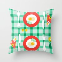 breakfast Throw Pillows featuring breakfast by vitamin