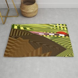 Striped landscap with stylised mountains, sea and red Sun. Rug