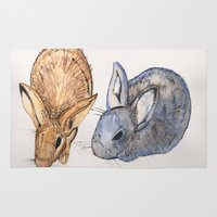 rabbits Area & Throw Rugs featuring rabbits by 5CUZ1
